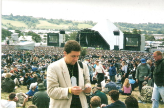 George McKay at the festival in 2000, publicising the new book, Glastonbury: A Very English Fair