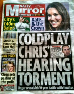Chris Martin, Coldplay, tinnitus: rock music-induced hearing loss