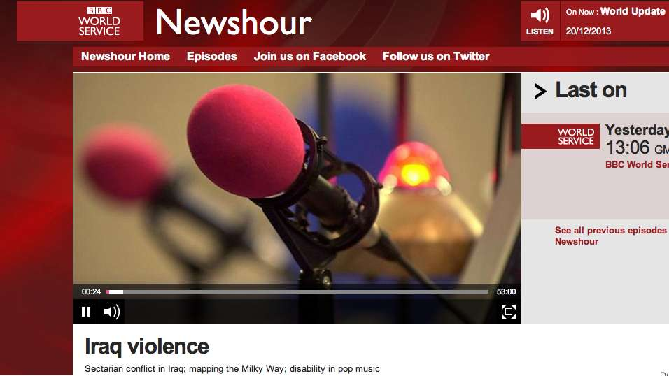 BBC WS Newshour screen shot Shakin interview Steve Harley