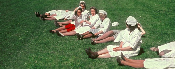 Chocolate factory workers relaxing in the Marabouparken, c. 1950s