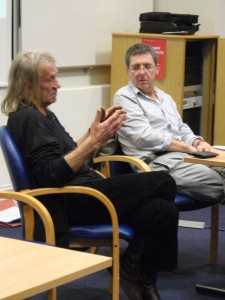 Penny Rimbaud and George McKay in conference discussion, Salford 2008