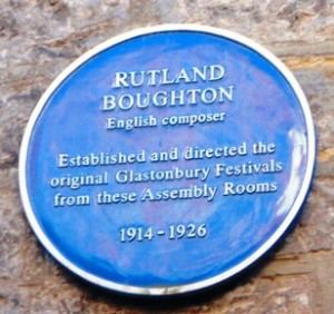 Rutland Boughton blue plaque, Assembly Rooms, Glastonbury