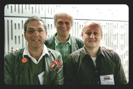n the studio after the programme: Thinking Allowed, Radio 4, BBC Broadcasting House, George McKay with presenter Prof Laurie Taylor (centre) and Dr Tim Jordan (right)